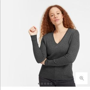 Everline cashmere V-neck in Charcoal